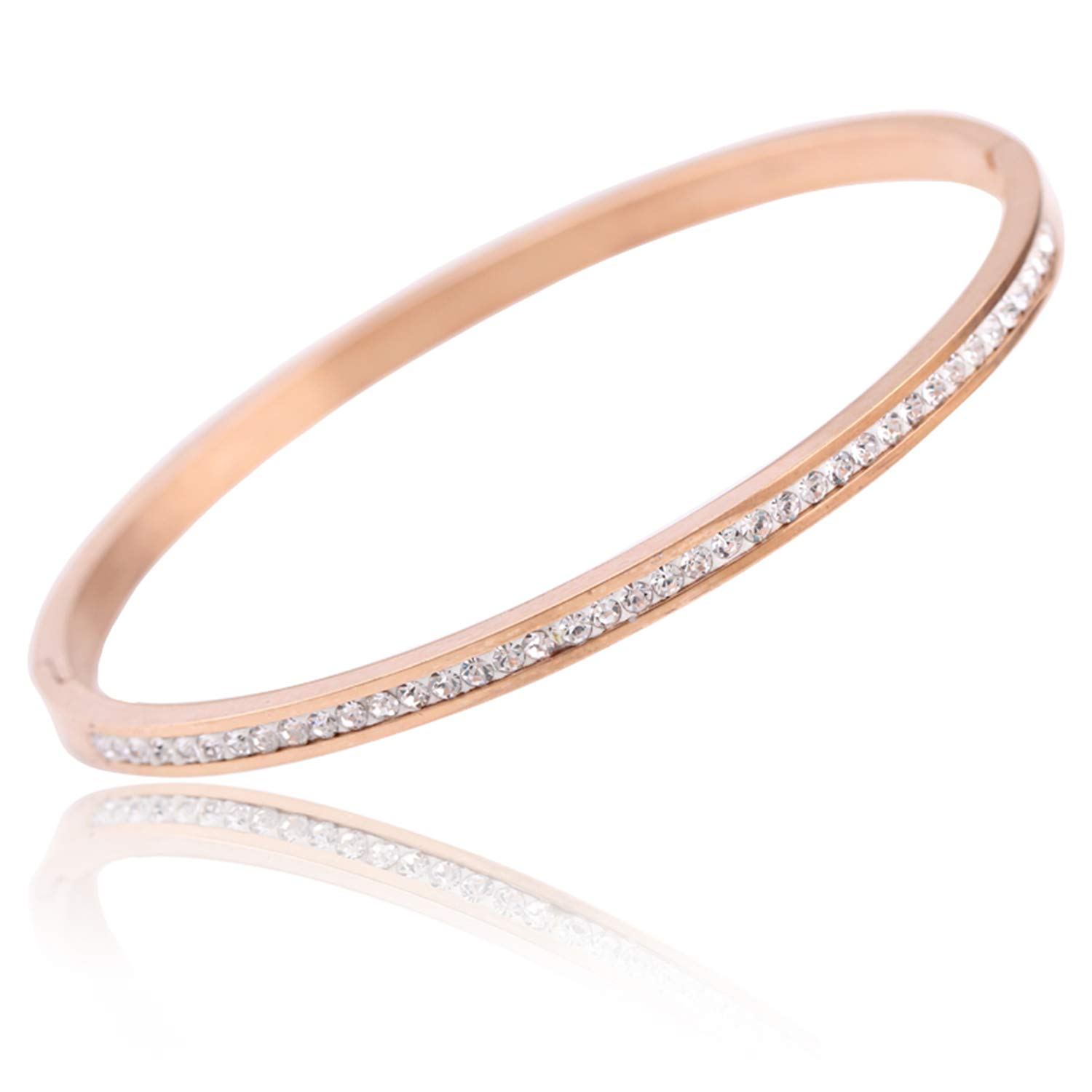 Two Crystal Rhinestone Pave Stainless Steel Opening Bangle for Women Clear Gold-Color