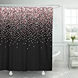 Pink and Gold Shower Curtain Emvency Fabric Shower Curtain Curtains with Hooks Confetti Pink Gold Glitter Scatter Top Gradient with on Black Falling Abstract Beautiful Billboard Canvas 72