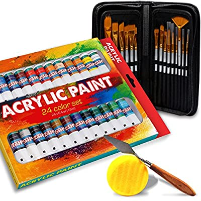 Acrylic Paint Kit (24 Pieces) - Vibrant Colors with RICH PIGMENT -Quick Dry & Non Toxic - and 15 Brush Set, PLUS BONUS Art Sponge and Paint Mix Knife - Perfect Gift Idea for Artists