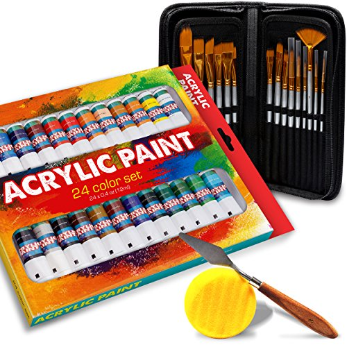 Acrylic Paint 24 Set and 15 Art Paint Brush Kit – Vibrant Colors – Perfect for Canvas, Wood, Ceramic, Fabric & Crafts – Rich Pigment – Quick Dry & Non-Toxic - Embroidery Point Star