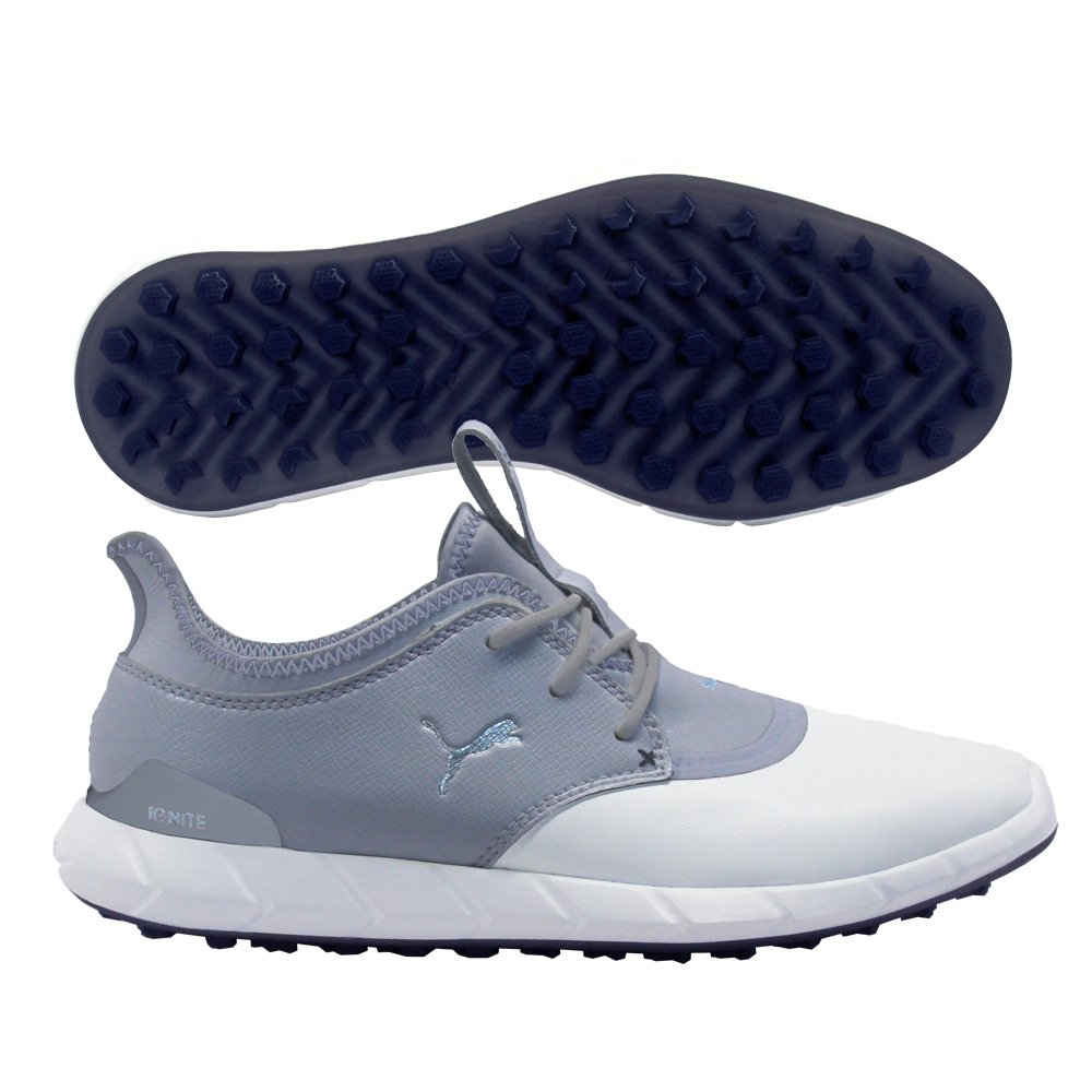 PUMA Golf Men's Ignite Spikeless Pro Golf Shoe, White/Quarry Silver, 10 M US