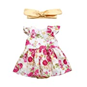 Vincent&July Infant Baby Girls Sleeveless Floral Ruffle Print Romper+Headbands Outfits Set (12M(6-12Month))