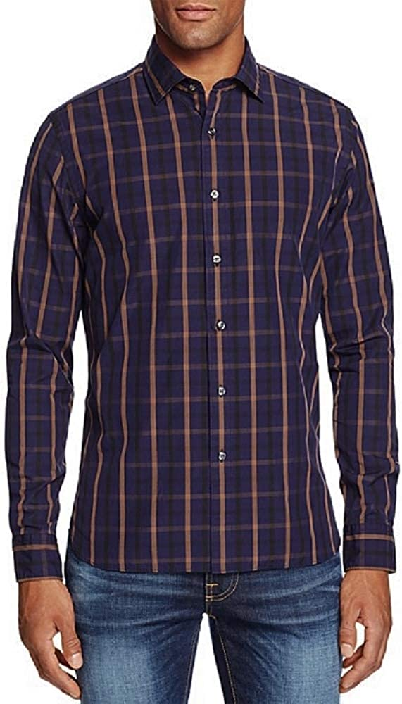 Bloomingdales New $98 Blue Chocolate Window Plaid Casual Dress Shirt Size L