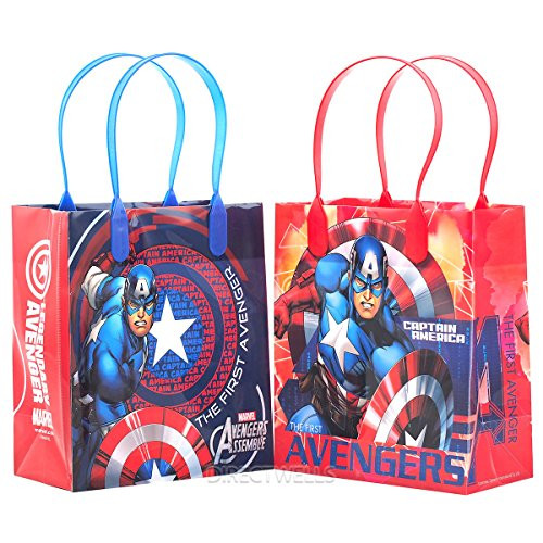Marvel Avengers Captain America Premium Quality Party Favor Goodie Small Gift Bags 12 ()
