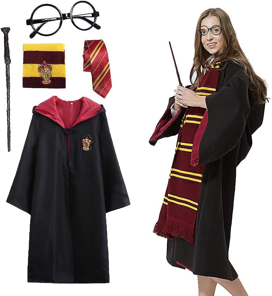 Baipin Disfraz de Harry Potter Cosplay para niños Adultos, con Capa, Corbata, Montura de Gafas, para la Fiesta de Harry Potter Disfraz Carnaval Halloween