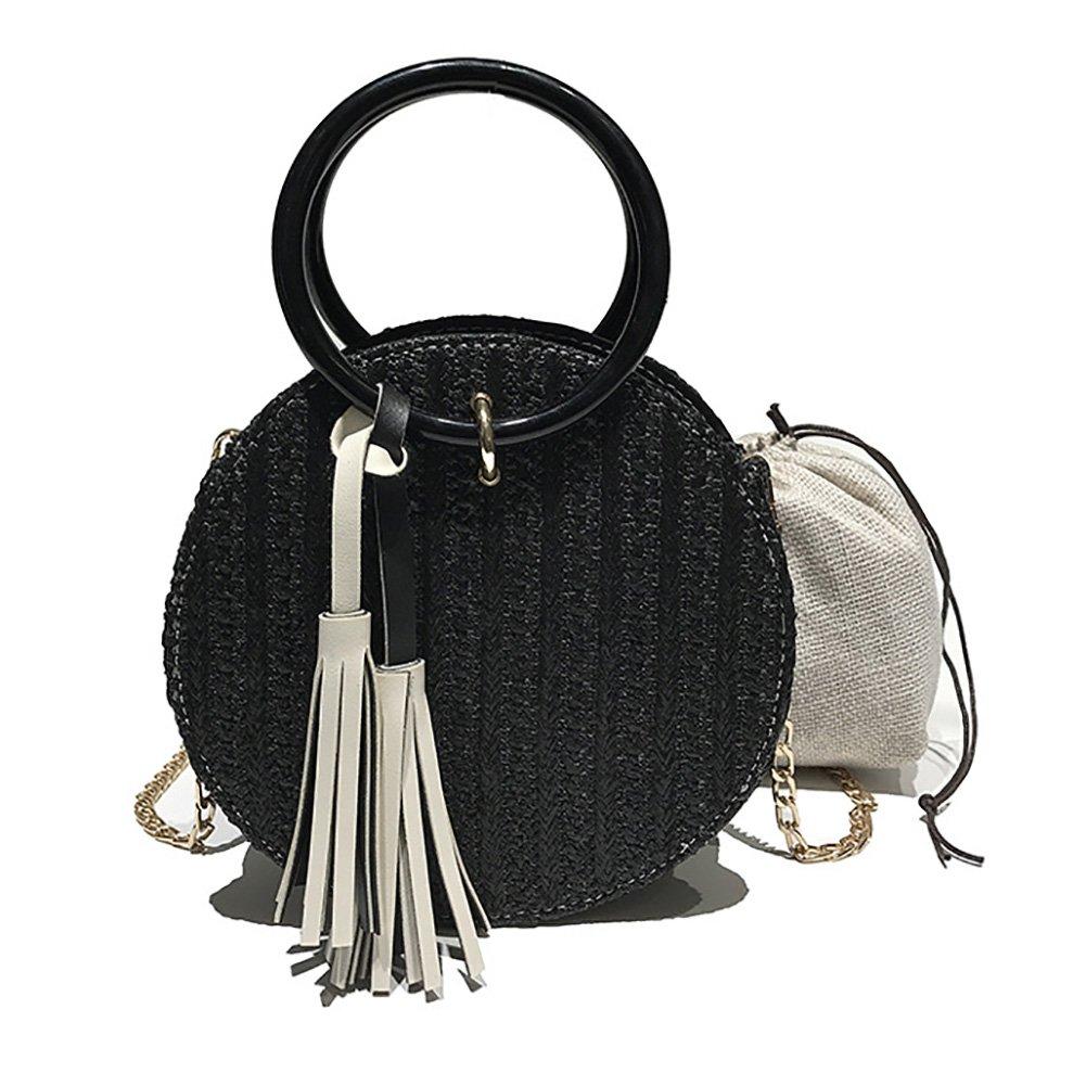 Veenajo Womens Round Straw Handbags Clutch Purses Crossbody Summer Beach Tote Bag Satchel -black
