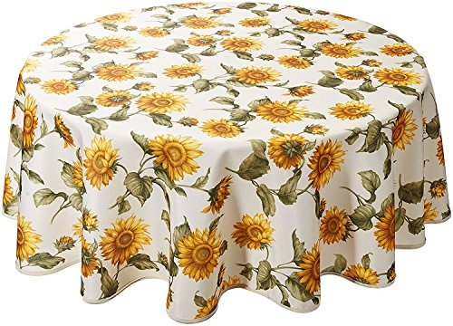 (Violet Linen Classic Euro Sunflower Tablecloth With Large Sunflowers Design, 60