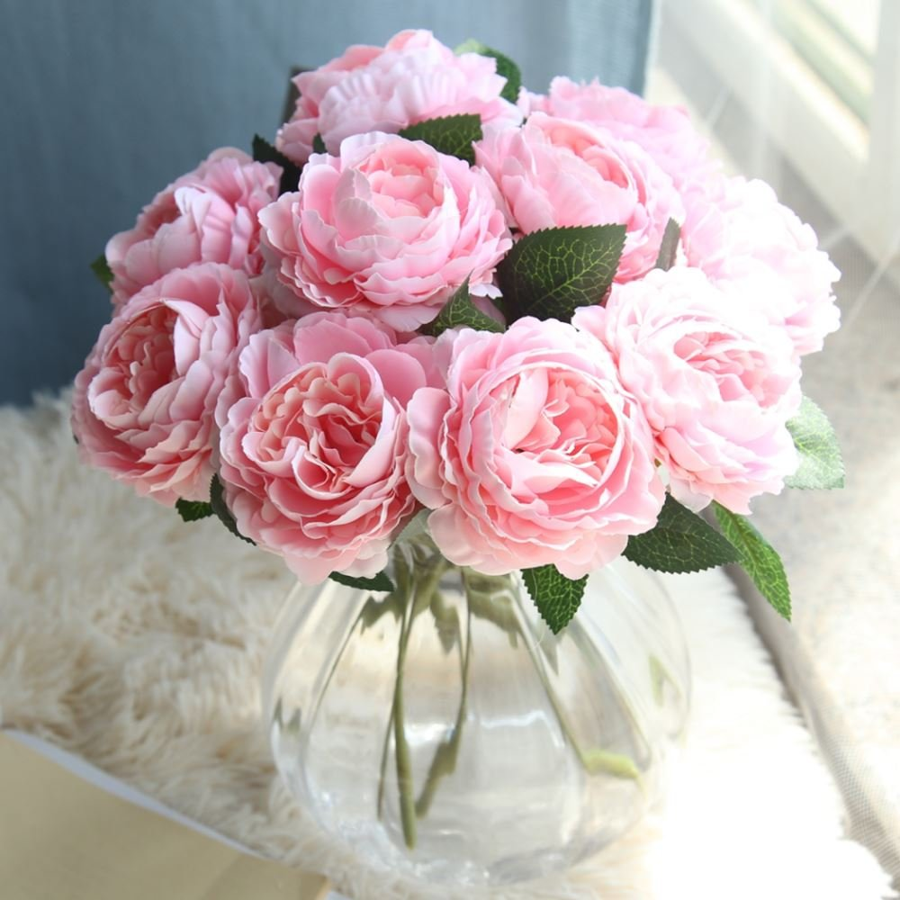 Fake Flowersartificial Flowers Plants Silk Plastic 8 Pcs Roses
