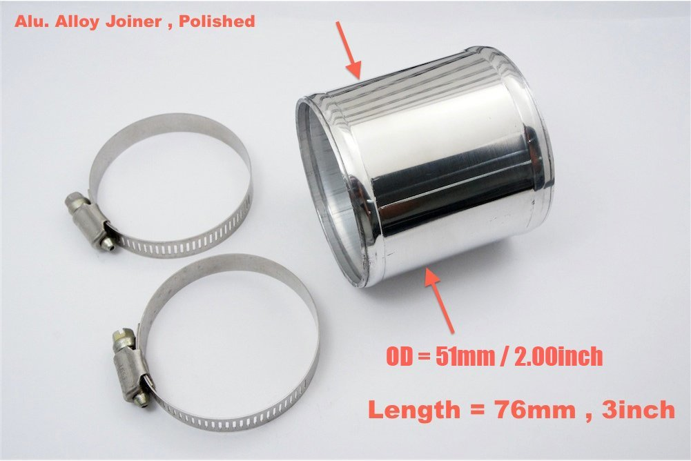 60mm Chrome Polish Autobahn88 Aluminum Alloy Pipe Intake Pipe and Universal Use for Intercooler Pipe L 12 Straight OD 2.36 300mm