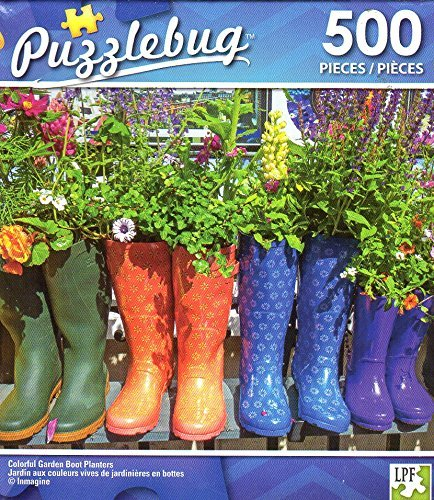 500 Piece Jigsaw Puzzle Cra-Z-Art Colorful Garden Boot Planters
