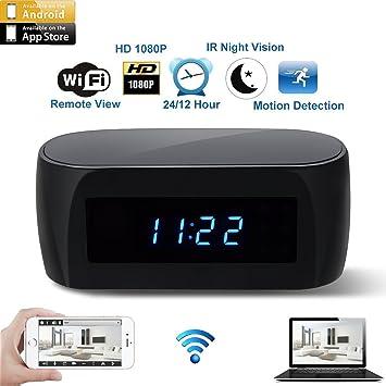1080P HD Cámara reloj despertador espía de vigilancia oculta visión nocturna Sensor de movimiento y audio