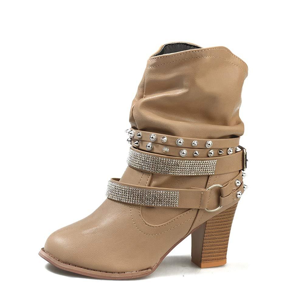 YAN Damenmode Schuhe Martin Stiefel Wintermode Damenstiefel Rough High Heels Rundkopfniet Strassstiefel
