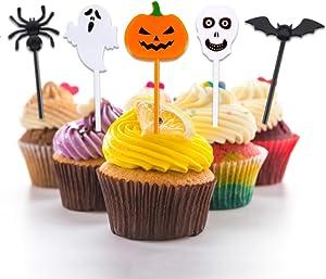 Halloween Food Picks Cupcake Toppers Plastic Halloween Picks for Food Cake Decor,60 pcs