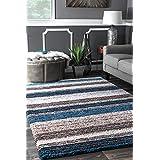 nuLOOM 200HJZOM1B-508 Handmade Striped Plush Shag Rug (5-Feet X 8-Feet)