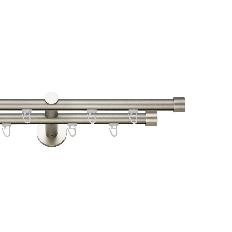 Innenlauf Gardinenstange 19 mm Preishammer Chrom-Mat Zweiläufig Modern Sonderangebot! Länge: 360