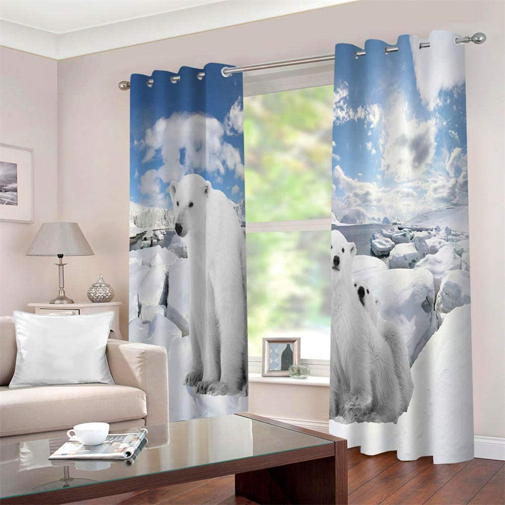 LLWERSJ Curtains Blackout Polar bear Insulated Curtains Eyelet Printed Curtains Pencil Pleat Polyester Microfibre Childrens kitchen living room Bedroom 75x166cm x 2 pcs