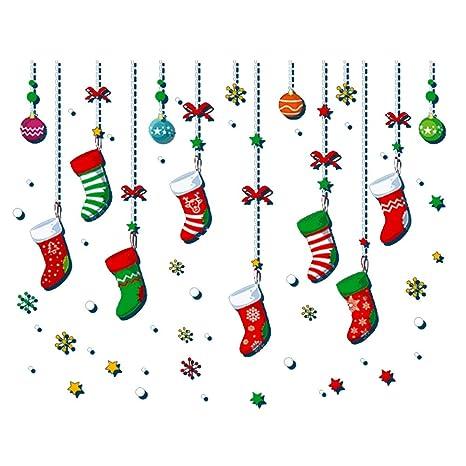 DDG EDMMS Decoración de Navidad Creativo Que cuelgan Calcetines Pegatinas de Pared Desmontable Ventana de la