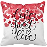 Love Sweet Love Text as Valentine's Day Home Decor Throw Pillow Cover Cotton Polyester Cusion Cover 18 x 18 Inches