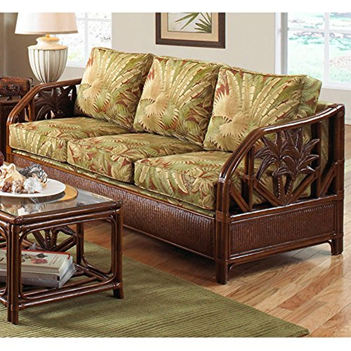 Hospitality Rattan Cancun Palm Upholstered Rattan & Wicker Sofa with Cushions – TC Antique