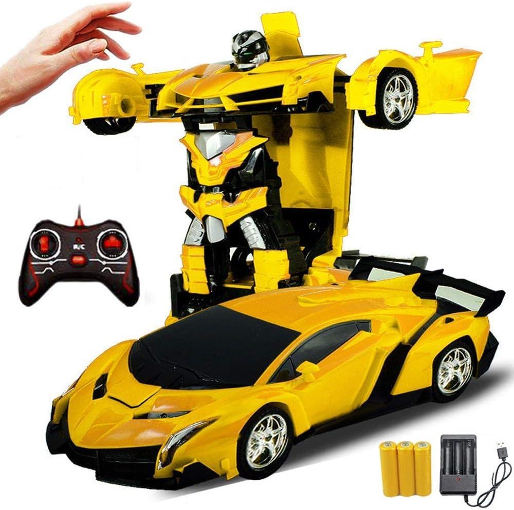 De un solo toque a distancia Carga de Deformación alejado del coche Gesto del coche del control de detección de Transformers Optimus Prime robot eléctrico de control remoto de coches de juguete de niñ