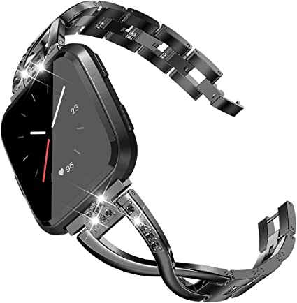 TOYOUTHS Bling Bracelet Compatible with Fitbit Versa/Versa 2 Bands for Women Stainless Steel Wristbands Replacement for Versa Lite Edition/Versa SE ...