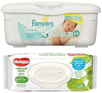 Pampers Sensitive Wipes Tub (64 ct) Bundle with Huggies Natural Care Flip Top Wipes
