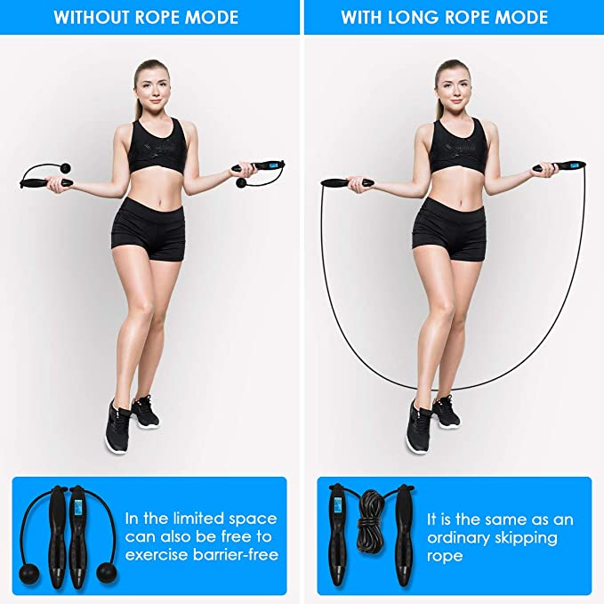 Home Outdoor Kids for Men,Women for Fitness Workout with Calorie Counter Adjustable Weights//Length Digital Counting Skipping Rope Jump Rope Exercise Cordless Ball