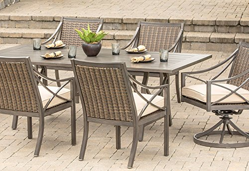 Davenport Mix Media Patio 7-piece Alumimum and Woven Dining Set (Umbrellas Hayneedle)