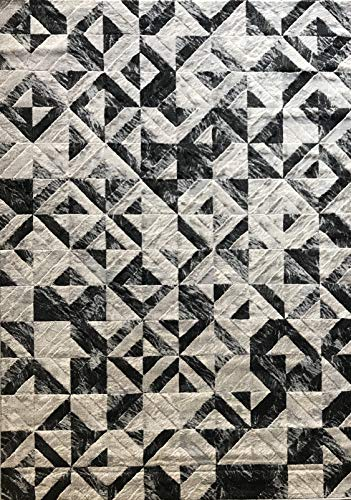 Lifestyle Modern Area Rug Contemporary Geometric Grey Silver Gray 701 (8 Feet X 10 Feet)