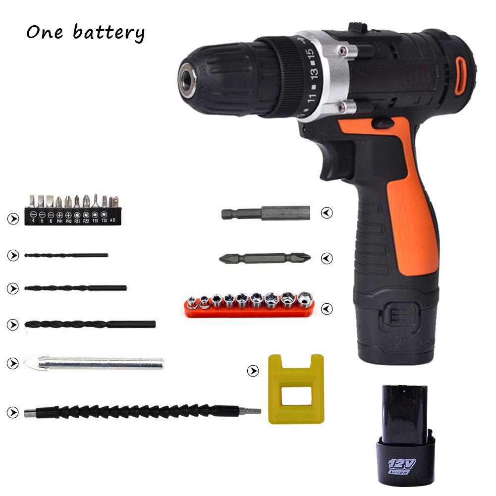 Destornillador eléctrico sin cuerda con 27 accesorios con 2 ...