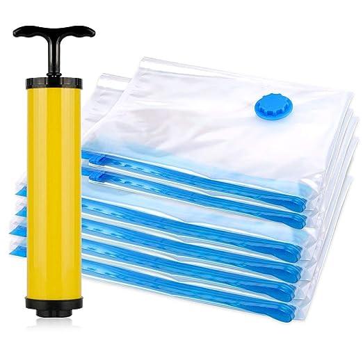 (6 Piezas) Bolsas de Almacenaje al Vacío 40x60cm(2ud)+60x80(4ud) La bolsa de vacío ahorra espacio, almacenamiento al vacío a prueba de polvo para ...