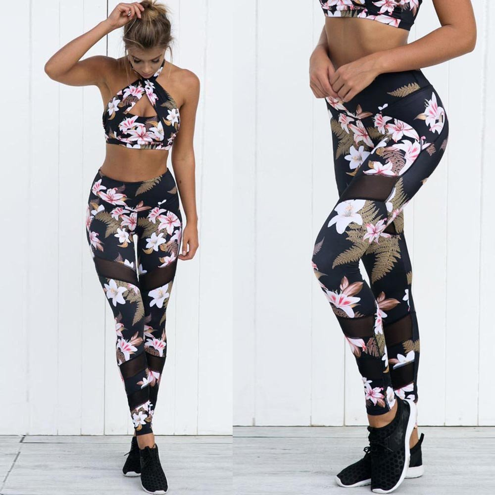 Dressffe Fitness & Sports, High Waist Ankle-Length Pants Yaga Pants for Women, Athletic Pants Breathable suit for Workout Leggings Fitness Sports Gym Running Floral Printed Trousers Pencil Pants (S) by Dressffe (Image #3)