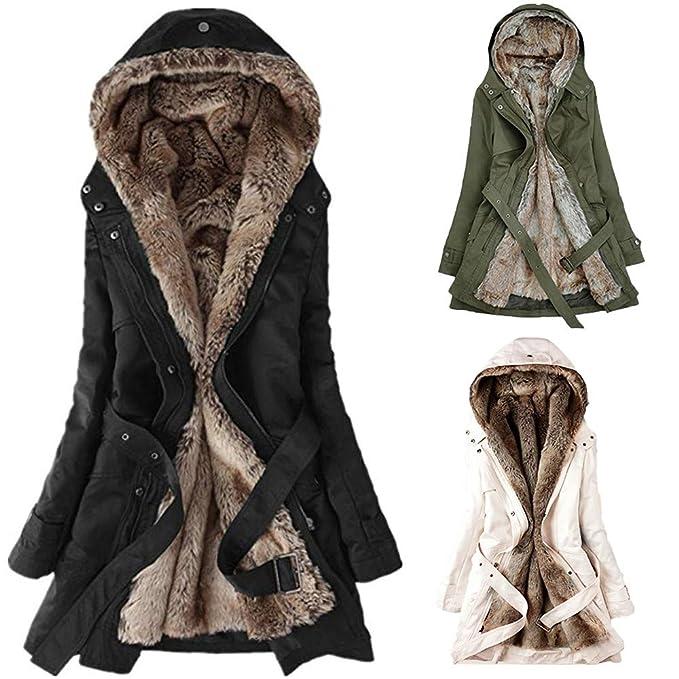 Xmiral Abrigos Parka Polar con Botones Mujer Invierno Elegantes Slim Chaqueta con Capucha Lana Capa Jacket Sudadera Outwear (Verde, XL/ES 42-44): Amazon.es: ...
