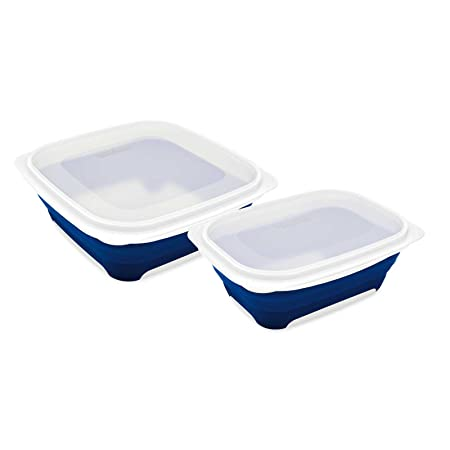 Leifheit Fresh u0026 Slim starter set 2 square collapsible food containers 0.75L + 0.5  sc 1 st  Amazon UK & Leifheit Fresh u0026 Slim starter set: 2 square collapsible food ...