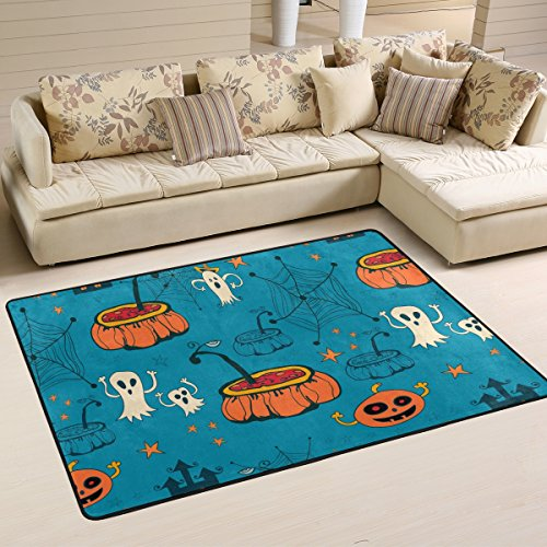 Funny Halloween Decorations Spooky Ghost Pumpkin Spider Web Elegant Area Rug Pad Non-Slip Kitchen Floor Mat for Living Room Bedroom 4' x 6' Doormats Home Decor