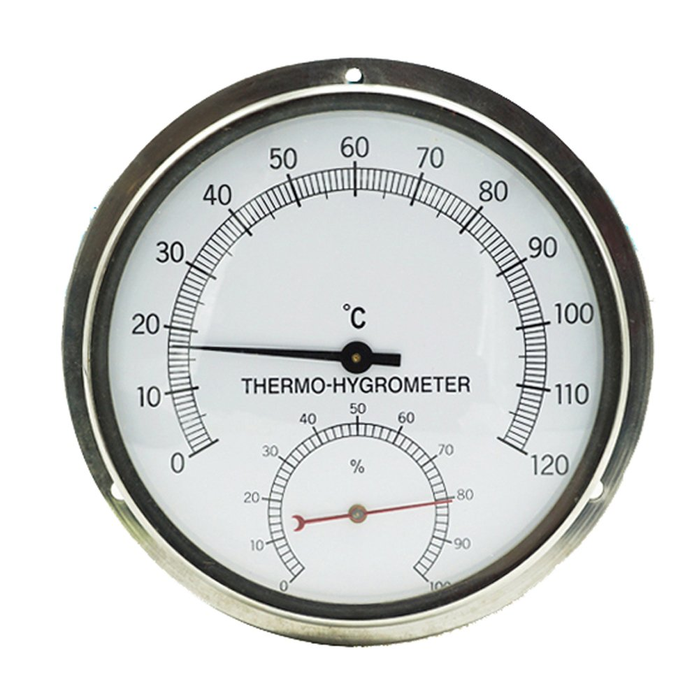 6-inch Flange Wall Mount Stainless Steel Sauna Room Hyprometer Thermometer Thermo-hygrometer szdealhola
