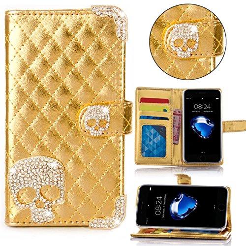 Book Style Design Handy Tasche Karo Metallic mit Visitenkartenfunktion Flip Cover Schutz Hülle Schale Klapp Etui Case Modern Bag für Apple Iphone 6 / 6s Plus in Gold