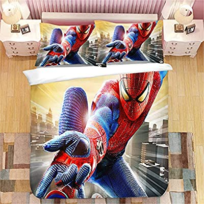 EVDAY 3D Spider Man Duvet Cover Set for Boys Bed Set Super Soft Microfiber Hero Design Kids Bedding 3Piece Including 1Duvet Cover,2Pillowcases Queen Size: Home & Kitchen