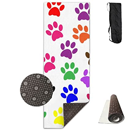Amazon.com : Colorful Paw Prints Yoga Mat Towel For Bikram ...