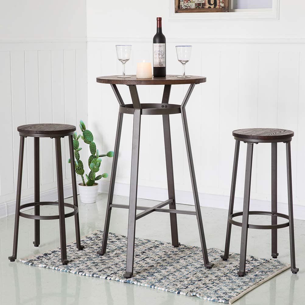 Glitzhome Rustic Steel Bar Table Round Wood Top and Dark Grey ...