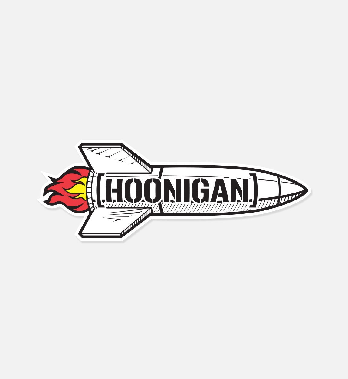 Hoonigan rocket with bracket logo premium vinyl sticker 8 die cut vinyl decal light that fuse and show some love to your bumper laptop skate deck