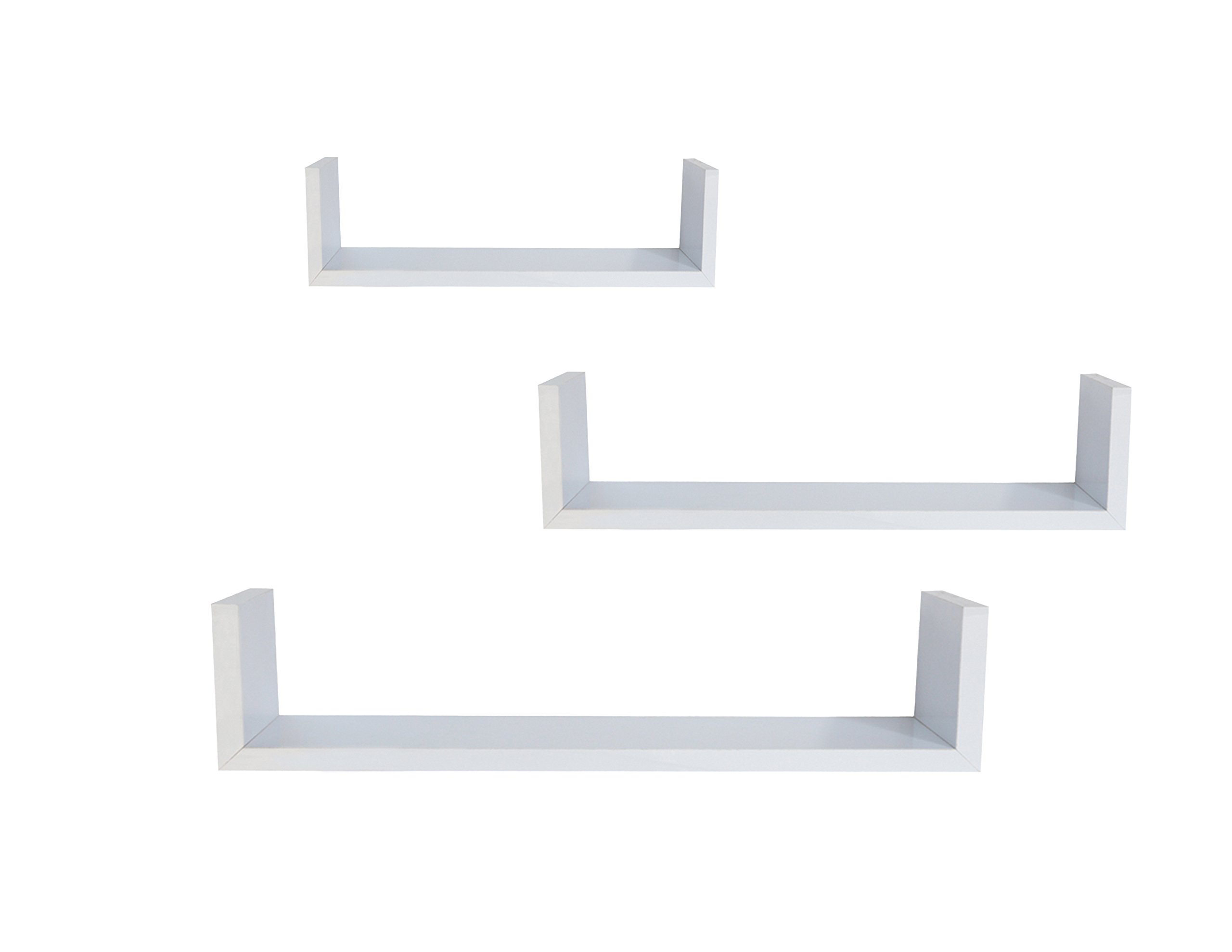 EWEI'S HomeWares 3 Floating U Shelves, White