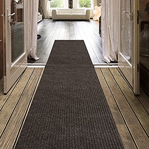 iCustomRug Indoor/Outdoor Utility Ribbed Carpet Runner And Area Rugs In Brown, Many Sizes Available (Brown Indoor Outdoor Rug)