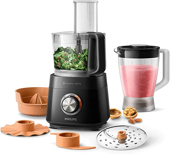 Philips HR751011 Viva Compact Food Processor, 6 Accessories, 29 Functions, 800 W, 2.1 Litres