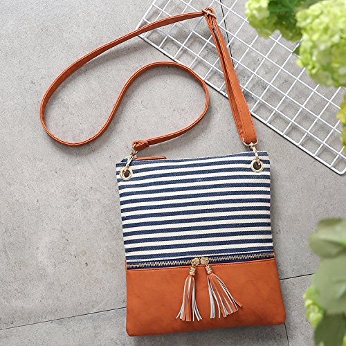 Shoulder Women Double Stripe Bag Messenger Tassel Crossbody Purse Zipper Blue Medium nIarxnP8R