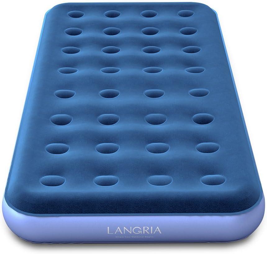 Amazon.com: LANGRIA - Cama hinchable de aire de tamaño doble ...