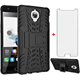 Phone Case for Oneplus 3 3T A3000 with Tempered Glass Screen Protector Cover and Stand Kickstand Hard Rugged Hybrid Cell…