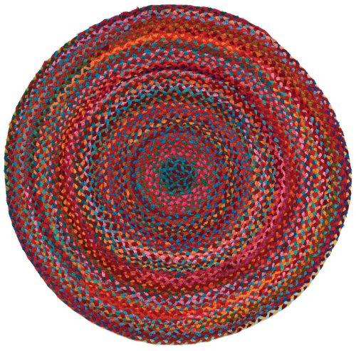 HF by LT Cotton Carnivale Braided Round Rug, 3', (Blue Round Baker)
