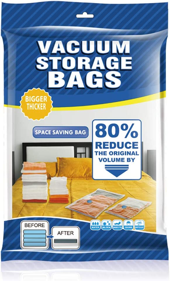 Vacuume Storage Bags, Space Saver Bags, 8 Pack Premium Waterproof Reusable Bags with Hand Pump for Comforter, Pillows, Blankets, Clothes, Quilts, Plush Toys