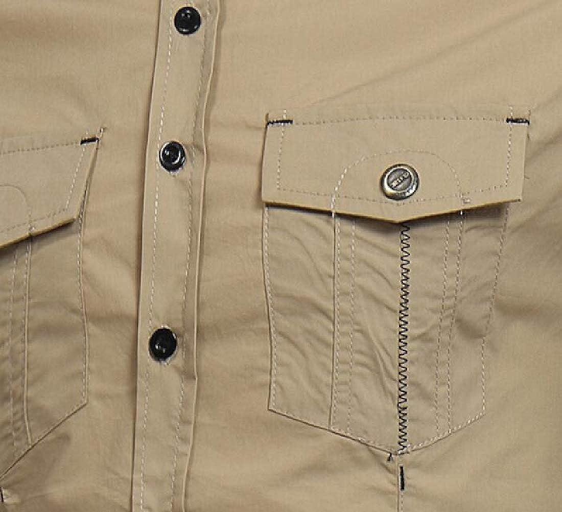 CRYYU Men Shirts Casual Long Sleeve Button Down Pocket Solid Color Shirt Top